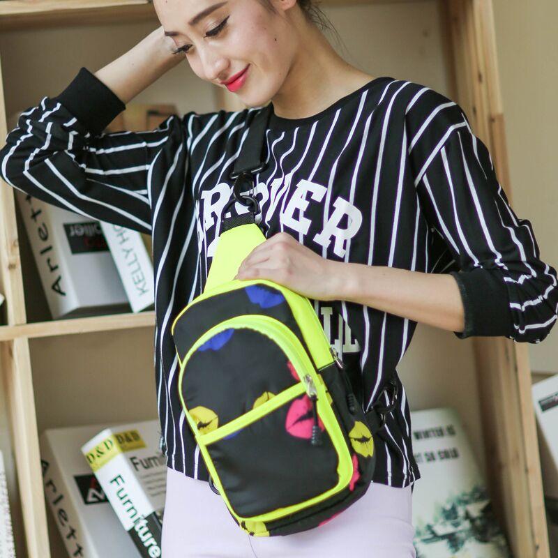 韩版时尚嘴唇印可爱女包斜挎包运动背包学生休闲小单肩包女士胸包