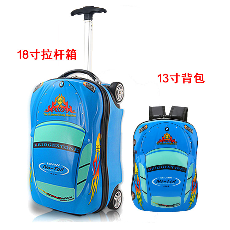 18 Inch Blue Car Lever + 13 Inch Blue Car Backpack