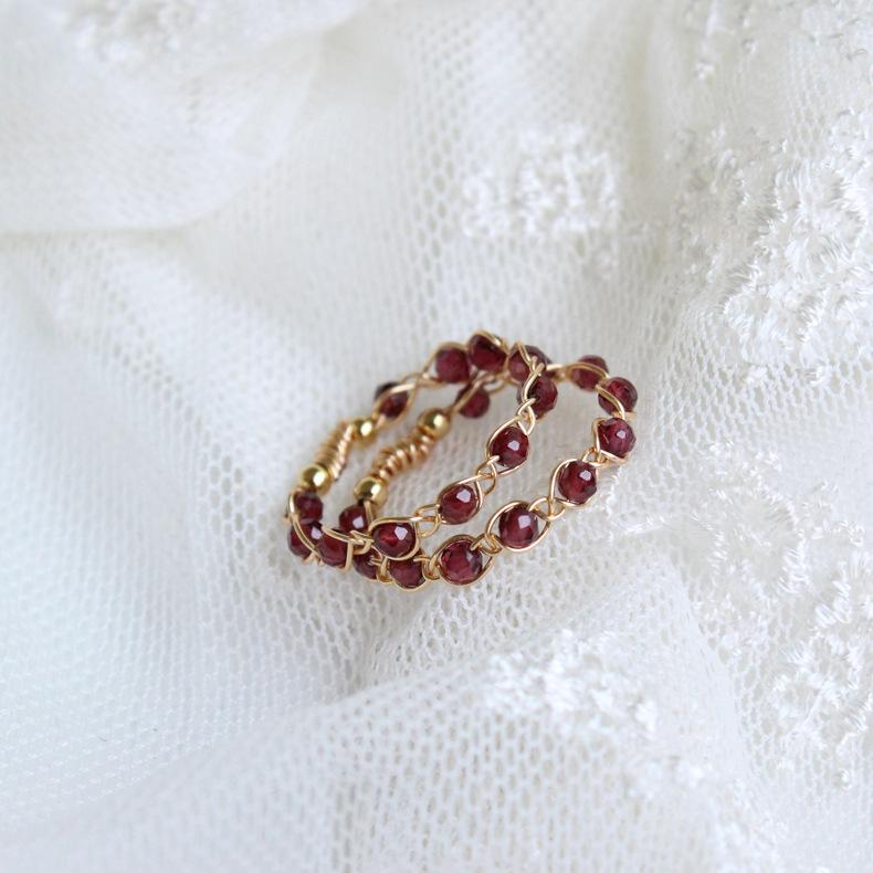 【BO】手作14k包金女宝石石榴石编织缠绕戒指原创设计尾戒气质007