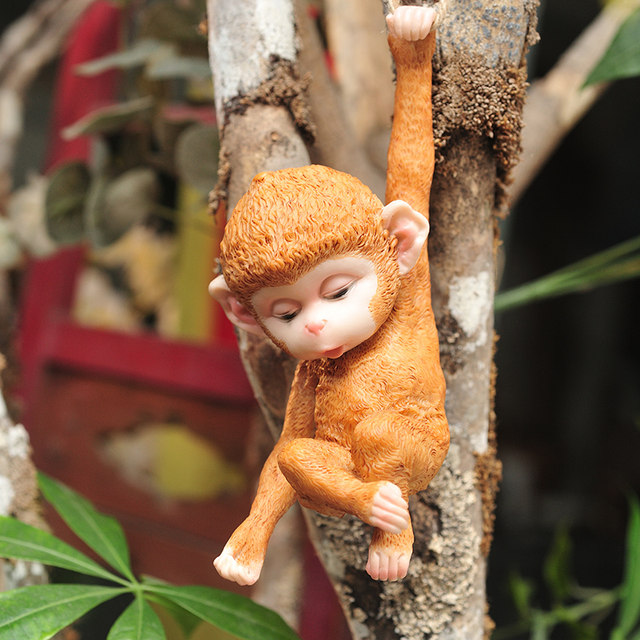 Outdoor garden courtyard little monkey tree decoration pendant gardening landscape hanging jewelry creative cute living room home