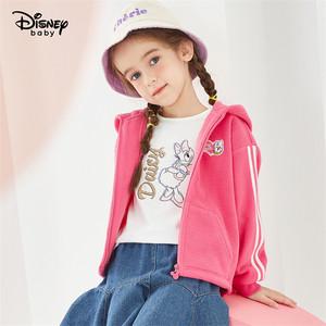 迪士尼女童连帽外套童装春秋新款洋气紫色黛西摇粒绒儿童宝宝上衣