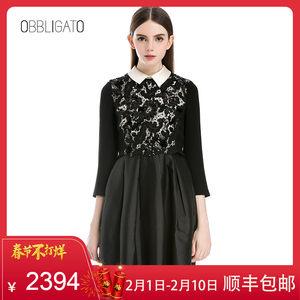 影儿奥丽嘉朵黑色翻领珠片蕾丝拼接修身丝毛连衣裙76205110