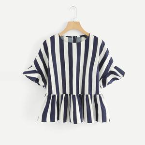 速賣通亞馬遜ebay圓領藍白豎條紋T恤寬松荷葉邊喇叭袖短袖