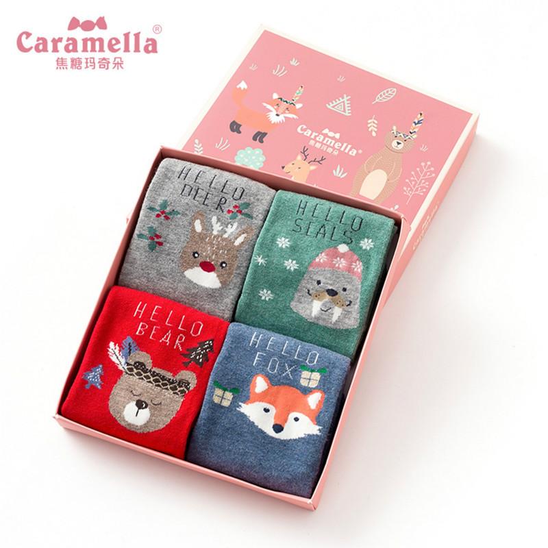 CARAMELLA秋冬女袜纯棉中长筒袜子女红色本命年韩版学院风圣诞袜-给呗网