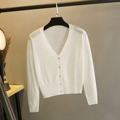 Ice silk knit cardigan female shawl summer short short sun sunscreen air conditioning shirt tape thin model skirt