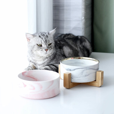 Cat bowl ceramic double bowl with pet bowl protection cervical cat food cat cat food bowl dog basin water dog bowl