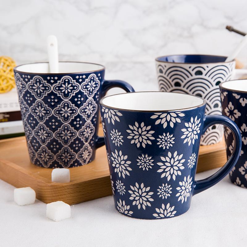 杯子陶瓷简约瓷杯家用茶杯马克杯手绘大容量牛奶杯办公室早餐水杯