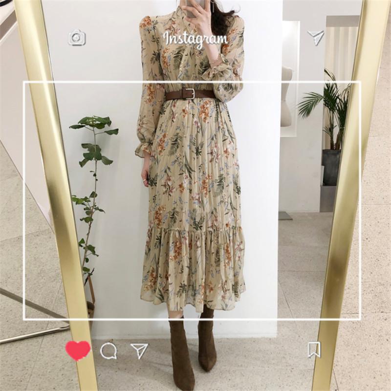 Осенью и зимой очень бессмертный долго юбка виктория ретро юбка французский pastoral ветер талия цветочный шифон платье женщина 583891826416