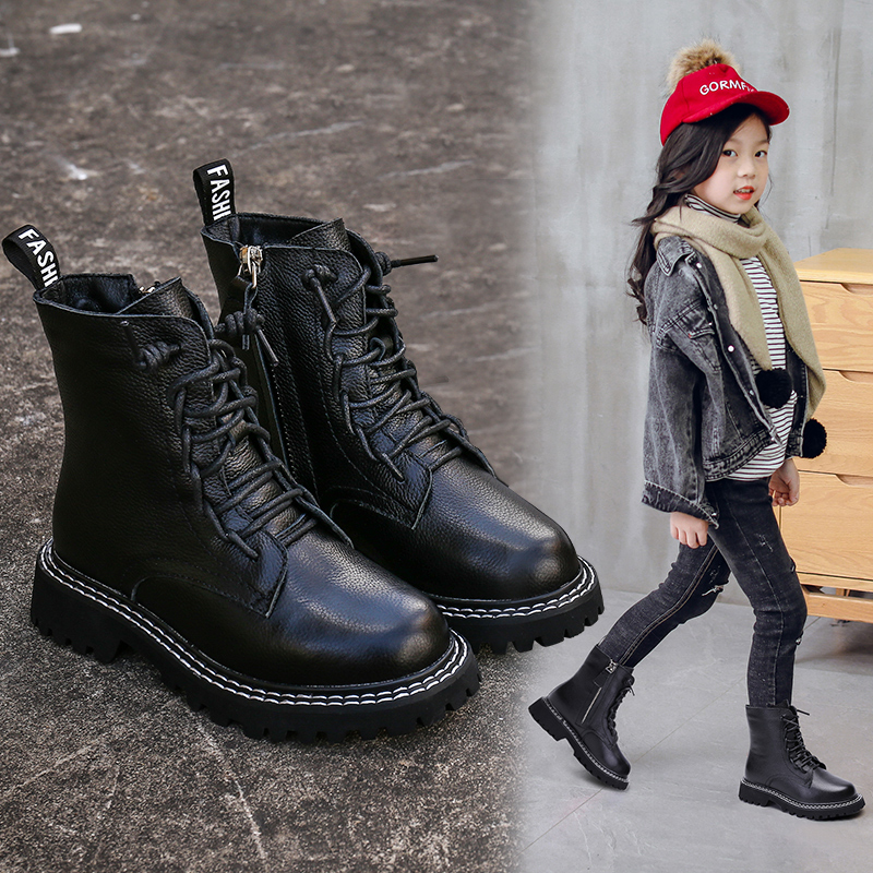 Girls ' Martin boots 2019 new suede boots boots boots boys snow boots cotton shoes autumn and winter children's shoes
