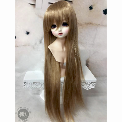 taobao agent Lazy baby bjd wig 3 4 points uncle sd doll girl giant baby with bangs straight long hair thin braid easy to take care of daily