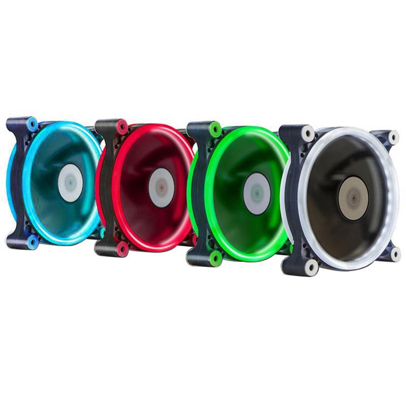 半岛铁盒P6双光环电脑台式机机箱风扇12cm水冷CPU极光日食风扇