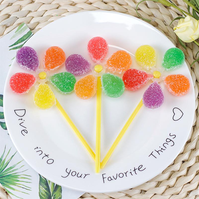金稻谷风车糖软糖棒棒糖儿童糖果零食果汁软糖创意水果糖散装批发