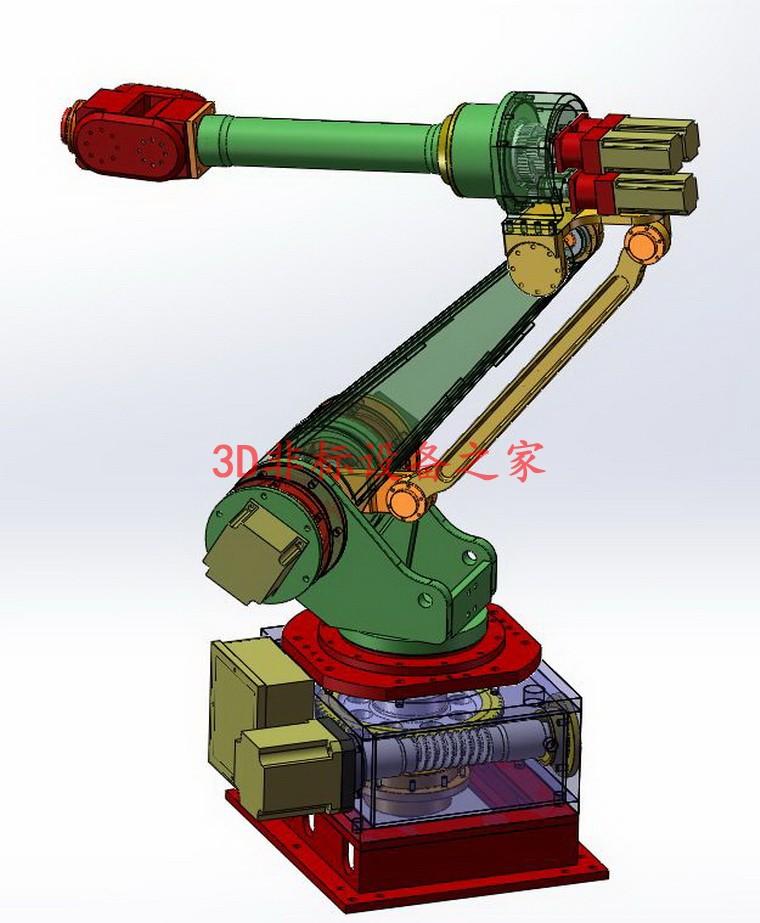 六轴坐标机器人6轴工业机械手solidwoks设计3D模型图纸