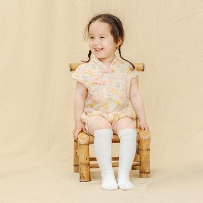 babylove婴儿包屁衣夏装纯棉哈衣公主旗袍中国风女宝宝连体衣汉服