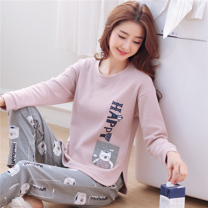 609f5b1444e5 Korean version of the spring and autumn large size pajamas cotton  long-sleeved autumn and winter cotton loose cute thin home service suits