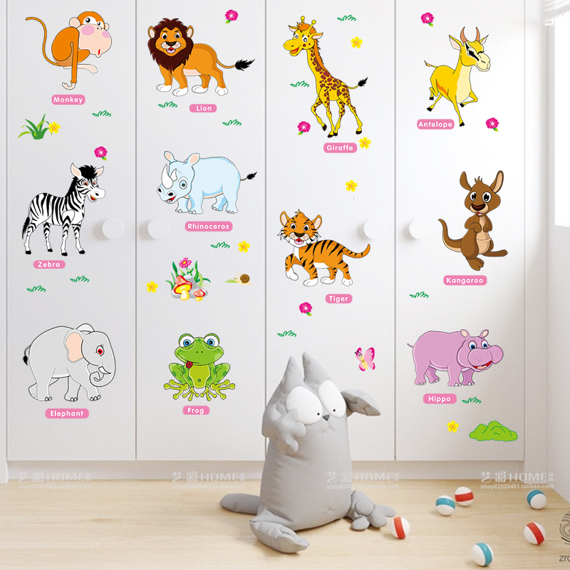 Cute Animal Wall Stickers Wallpaper Children S Room Baby Bedroom Wall Decoration Stickers Early Education Cartoon Wall Painting Self Adhesive