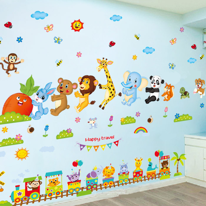 Cute animal wall stickers wallpaper children\'s room baby bedroom wall  decoration stickers early education cartoon wall painting self-adhesive