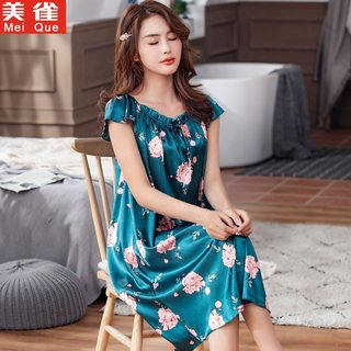 Nightdress women's summer silk sling ice silk sleeveless pajamas thin short-sleeved middle-aged mother middle-aged home service