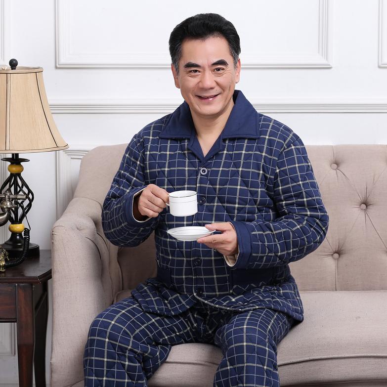中老年人爸爸全棉男冬季三层加厚夹棉中年套装秋冬纯棉家居服睡衣