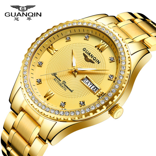Guanqin watch men's watch automatic mechanical watch gold-plated double calendar waterproof business casual men's diamond watch