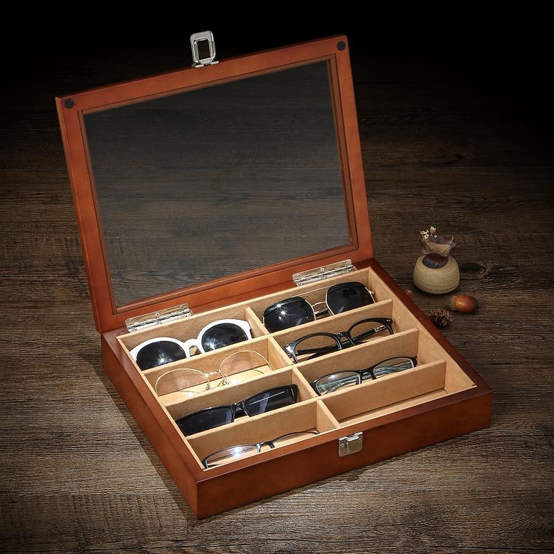 Wooden glasses case Multi-grid glasses storage box Myopia glasses sunglasses Sunglasses storage box Glasses display collection box