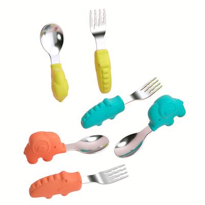 贝恩施宝宝餐具短柄勺子叉子婴儿辅食勺儿童训练学吃饭叉勺不锈钢