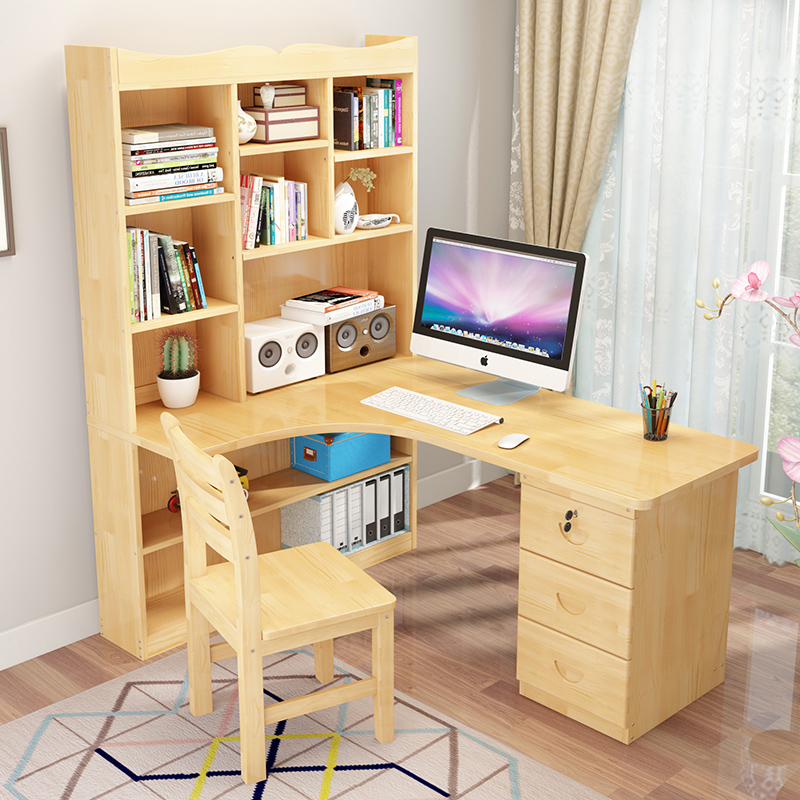 Solid Wood Computer Desk Corner Bookshelf Can Be Combined Childrens Learning Writing