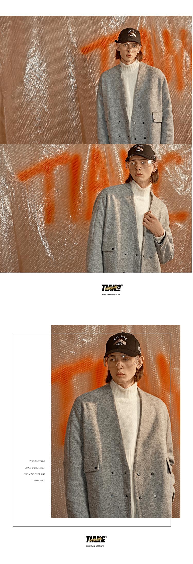 [TIANC THƯƠNG HIỆU Chen He] 2017 mùa thu và mùa đông dài áo khoác nam áo len nam áo gió #