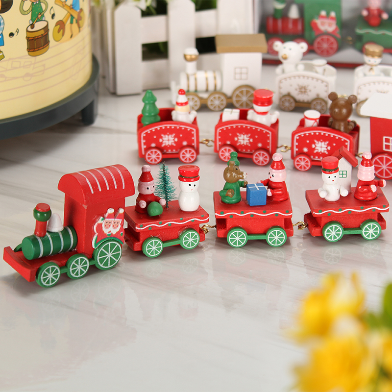 christmas decorations table countertop scene wooden small train children christmas gift gift diy decoration toys