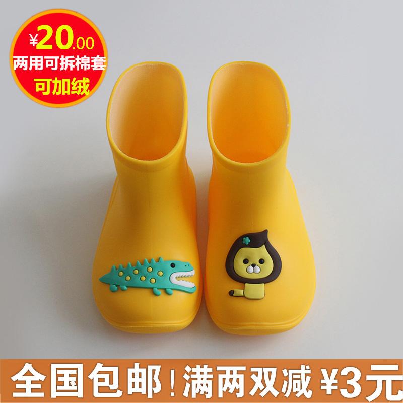糖果色卡通儿童雨鞋男女童1-2-3岁宝宝水鞋加绒雨靴子防滑塑胶鞋