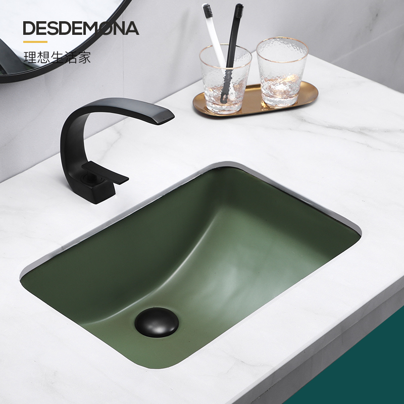 Ink-green retro American toilet table under the basin washbasin square embedded ceramic washbasin basin basin basin basin