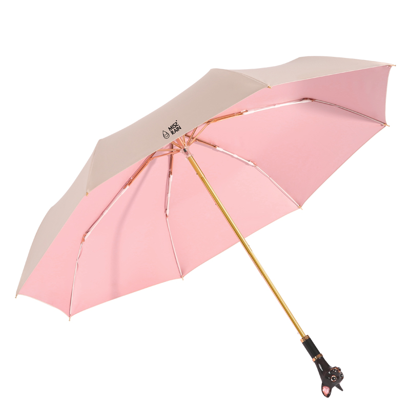 Qeeuanl Vinyl Tri-Folding Umbrella Super Sun Protection Sun Umbrella Female Dual-Use Sun Umbrella UV Sun Protection Umbrella Color : Pink