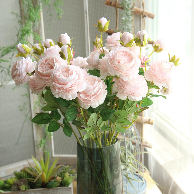 插花牡丹花婚庆茶几摆件家居客厅落地装饰玫瑰假花花束仿真绢花