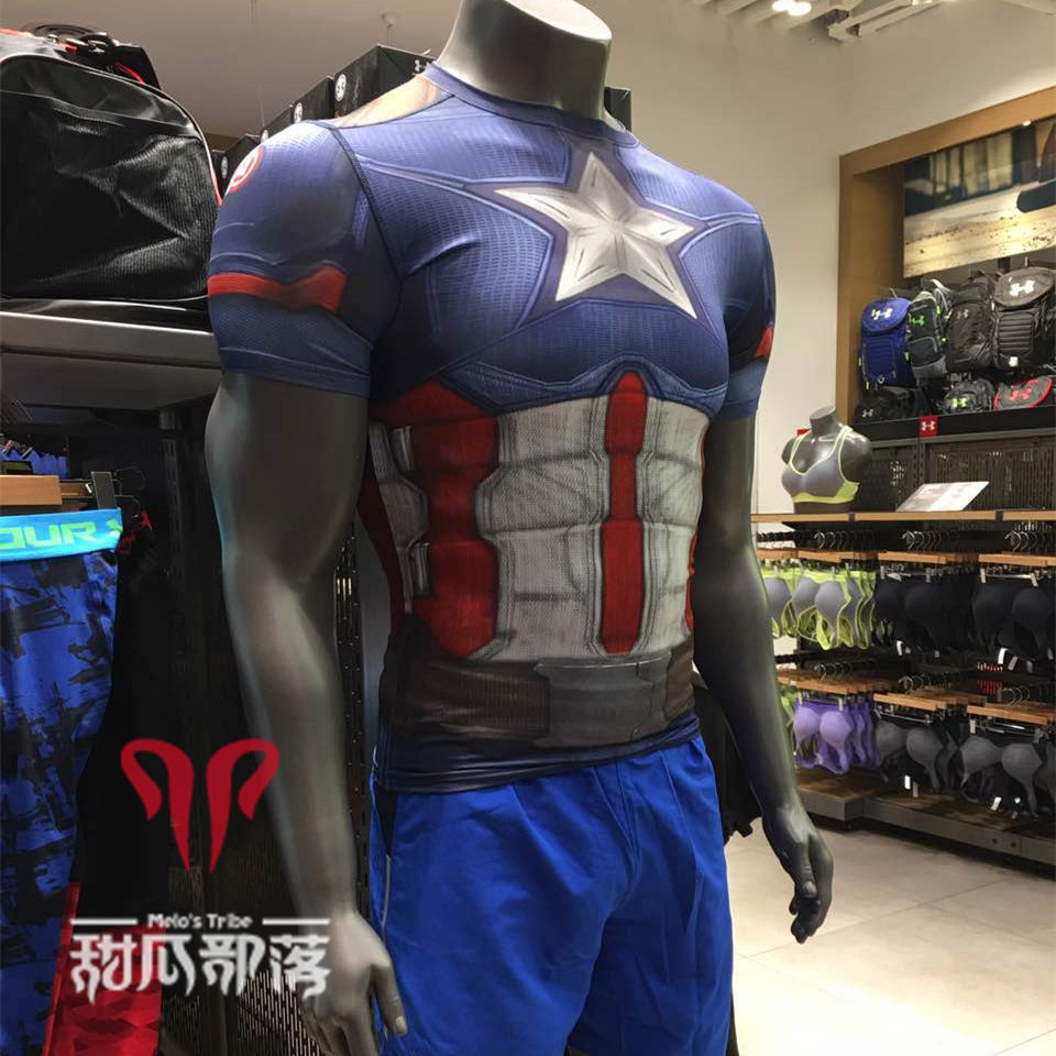 bb373ba96001 under armour steel body ua short sleeve T-shirt anderma Superman tights men  Quick Dry breathable round neck