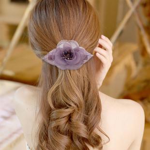 韩式发饰绢纱花发夹饰品