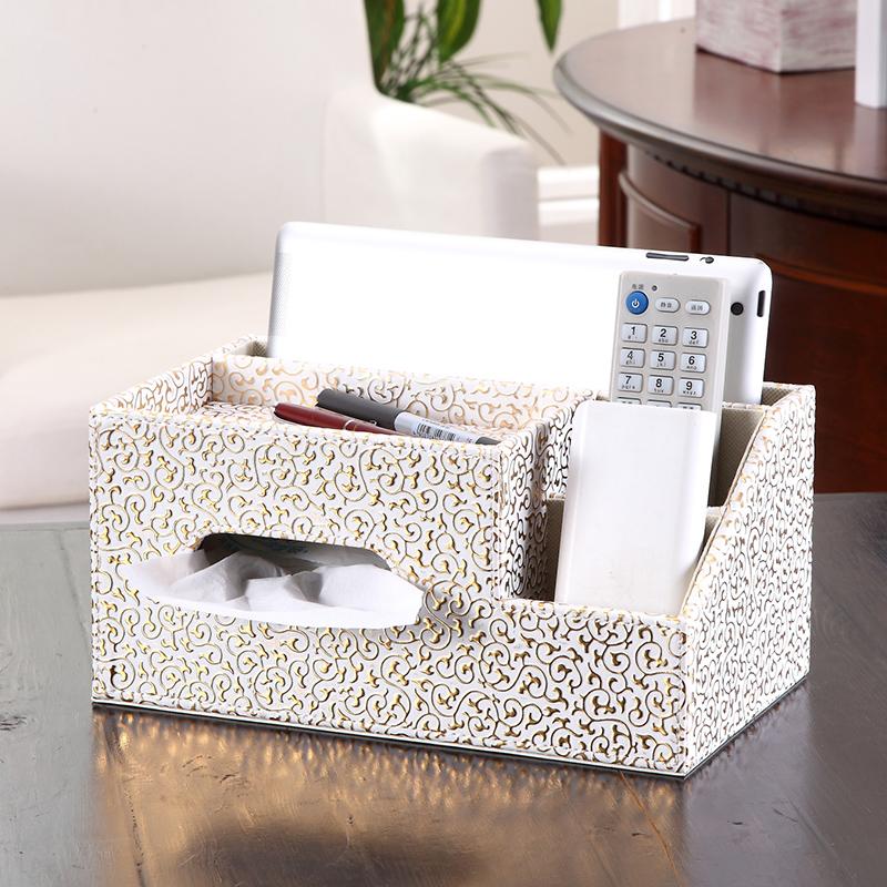 多功能纸巾盒 欧式茶几桌面遥控器收纳盒客厅创意餐巾抽纸盒家用