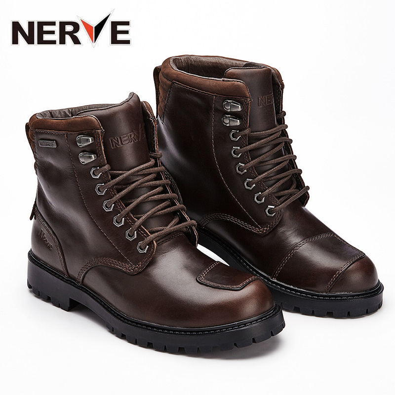 NERVE motorcycle riding shoes male road racing retro motorcycle boots Martin boots leather Four Seasons waterproof