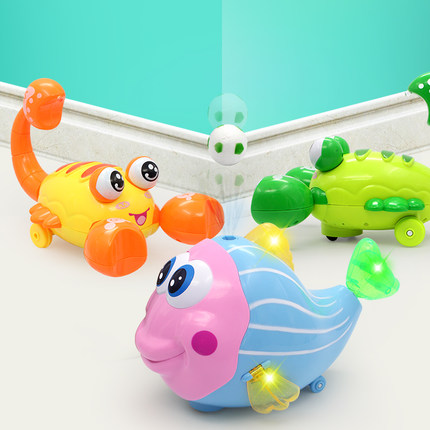 Children's electric toys clownfish electronic smart music machine top ball fish