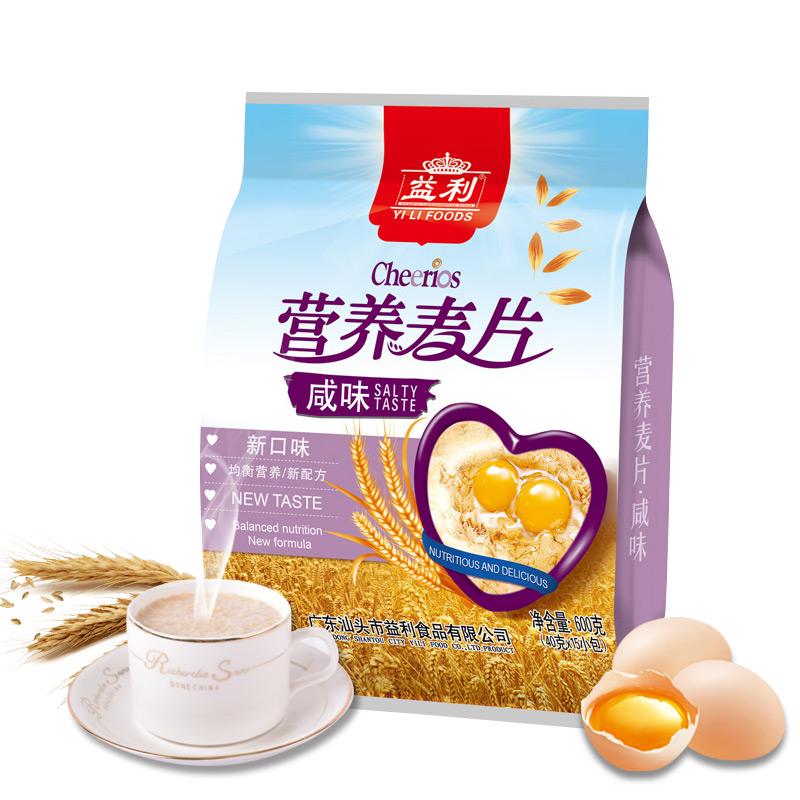 益利咸味麦片免煮即食学生营养早餐奶冲饮食品多口味燕麦片代餐粉