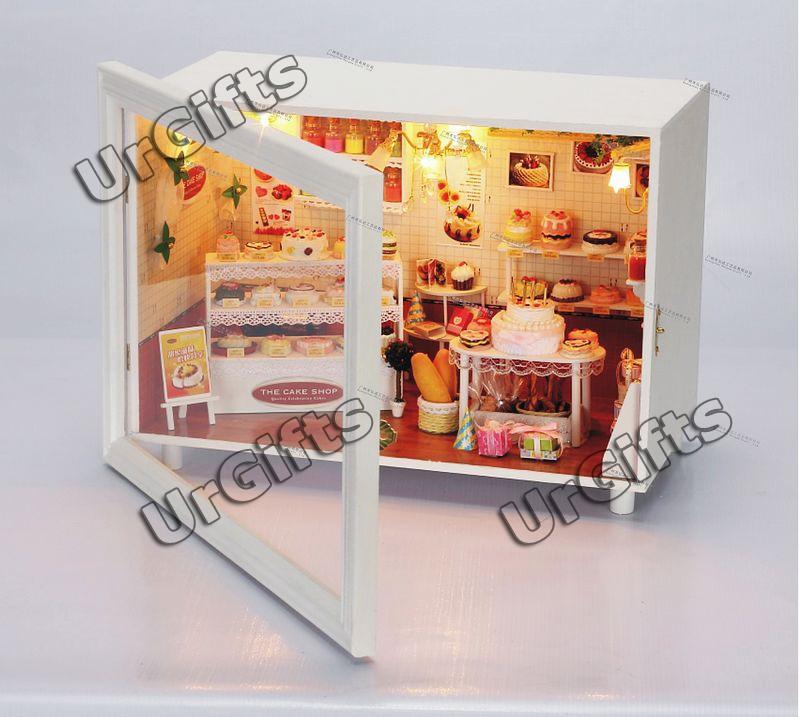 Dollhouse Miniature DIY Kit W/ Light Happy Bakery Cake