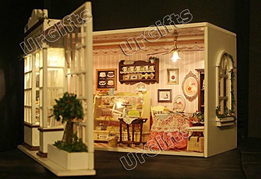 Dollhouse Miniature Diy Kit W Light Cake Store Bakery