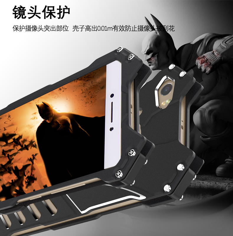 R-Just Batman Shockproof Aluminum Shell Metal Case with Custom Stent for Xiaomi Mi Max