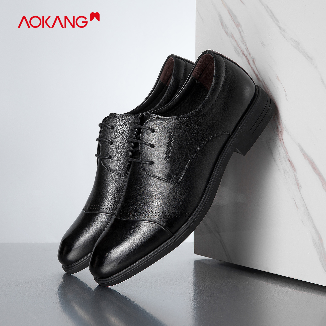 (Slip series) aokang men's shoes 2019 new autumn business suits office British breathable shoes