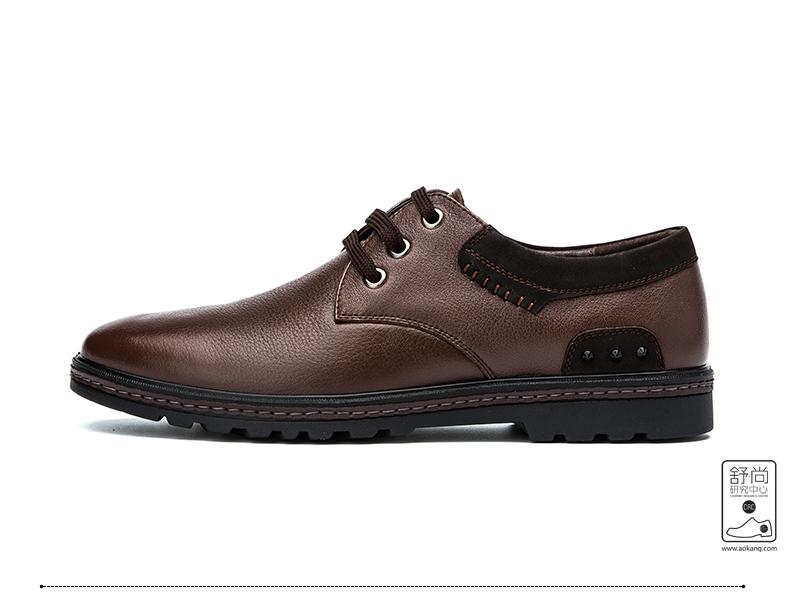 奥康皮鞋头层牛皮商务休闲皮鞋真皮男士单鞋休闲单鞋高清展示图 25