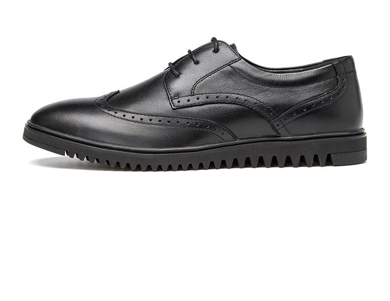 奥康男鞋 新款潮流尖头雕花布洛克低帮男鞋真皮英伦男单鞋高清展示图 13