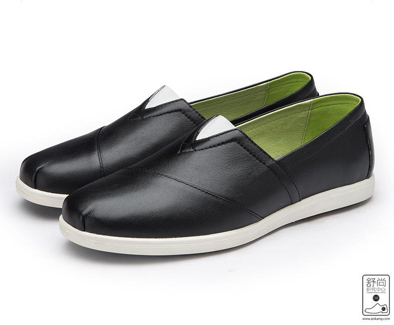 奥康男鞋新款真皮韩版舒适休闲鞋套脚皮鞋青年板鞋小白鞋高清展示图 18