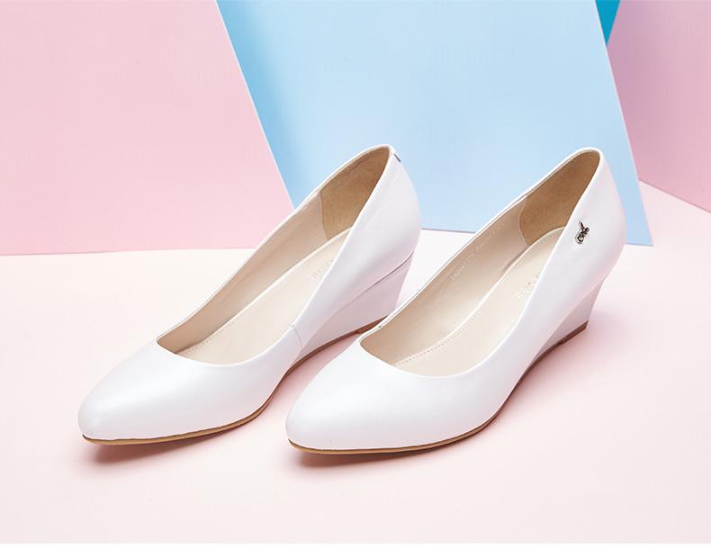 奥康女鞋 新款浅口坡跟时尚纯色舒适女鞋 简约通勤舒适女单鞋高清展示图 5