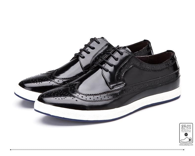 奥康男鞋时尚新款真皮漆皮潮流布洛克雕花板皮鞋高清展示图 18