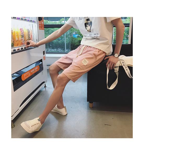 港风夏季新款休闲短裤男学生松紧宽松大码沙滩裤男 A111-DK88-P38
