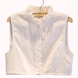 时尚立体压纹女式衬衫假领子棉麻女